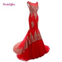 Red Appliques Lace Mermaid Evening Dresses Robe de soiree Sweep Train Scoop Neck Long prom dresses vestido longo dress elegant