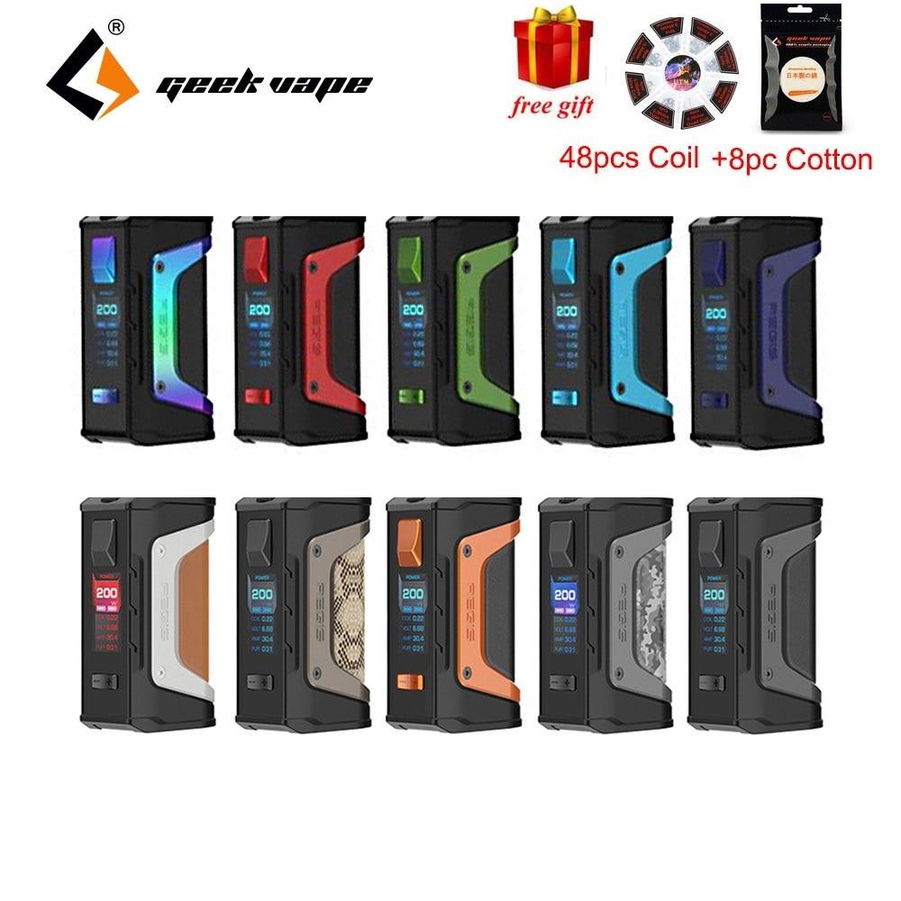 Cadeau gratuit! Nouveau GeekVape Aegis Legend 200 W TC Box MOD avec nouveau Chipset alimenté par deux Batteries 18650 E Cigs sans batterie Mod