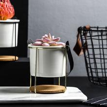 Портативный керамический цветочный горшок современный с металлической