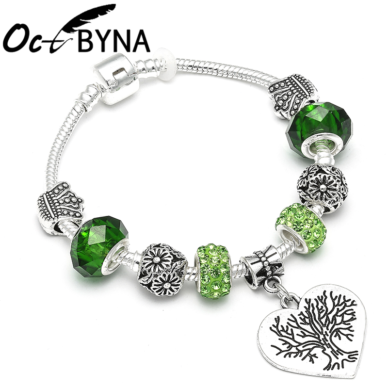 Green Tree of Life Charm Pandora Bracelet Antique Silver Color Heart Flower Beads Bracelets & Bangles Fashion Jewelry Gift