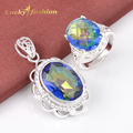 Fashion High Quality Crystal OVAL Dazzling Mystic Created Topaz Rings necklace jewelry sets Classic Wedding Dress