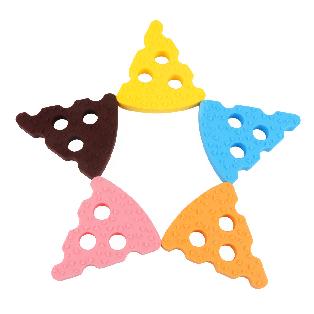 TYRY.HU 1pc Cheese Baby Teether Silicone Teething Beads Pendant DIY Pacifier Chian Necklace Toy Food Grade Silicone