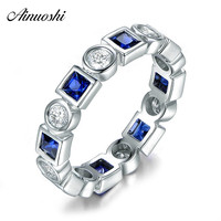 AINUOSHI Princess Cut Eternity Ring Square Blue Whtie Stone 925 Sterling Silver Ring for Women Engagement Wedding Lover Gifts