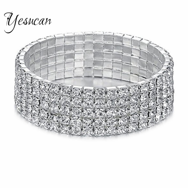 Yesucan Romantic Women Jewelry Bangle Elastic Stretchy Multilevel Row Rhinestone Crystal Bracelet Bangle Bridal Party Jewellery bangle