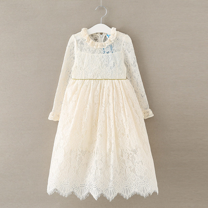 2017 New Girls Dresses Kids Princess Lace Mid Calf Clothing Long Sleeve vestido baby wedding for Party High Quality high quality girls baby bright leaf long sleeve lace dress princess bud silk dresses children s clothing wholesale