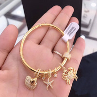 UMGODLY Luxury Gold Color Sea Creatures Bangle with Crab Shell Star Micro Cubic Zirconia for Women Bracelet Jewelry