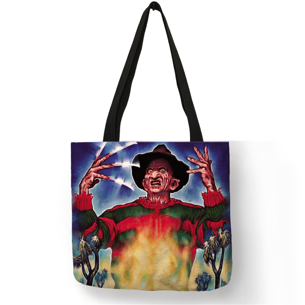 Dropship Customized Horror Movie Freddy Jason Tote Bag For Women Eco Linen Bag With Print  Logo Traveling School Shoulder BagsDropship Customized Horror Movie Freddy Jason Tote Bag For Women Eco Linen Bag With Print  Logo Traveling School Shoulder Bags