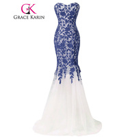Grace Karin Lace Evening Dress Long Mermaid Evening Gowns Slim Fit Strapless Tulle Black Red Blue