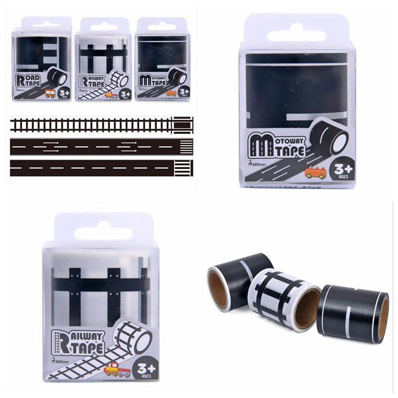 48mmX5m Railway Road Washi Tape Wide Creative Traffic Road Adhesive Masking Tape Road for Kids Toy Car Play