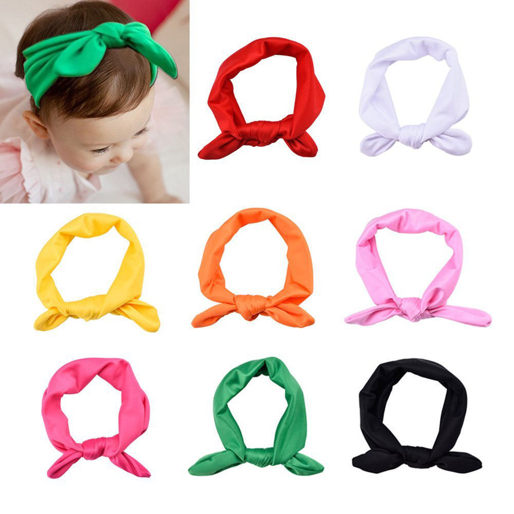 1pc Cute Newborn Baby Girls Headband Ribbon Headwear Baby Kids Hair Band Girl Bow Knot Colorful Headband Red Yellow Green Blue