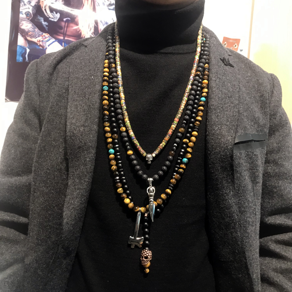 Mens Beaded Necklace Unisex or Mens Necklace Thin Black Necklace