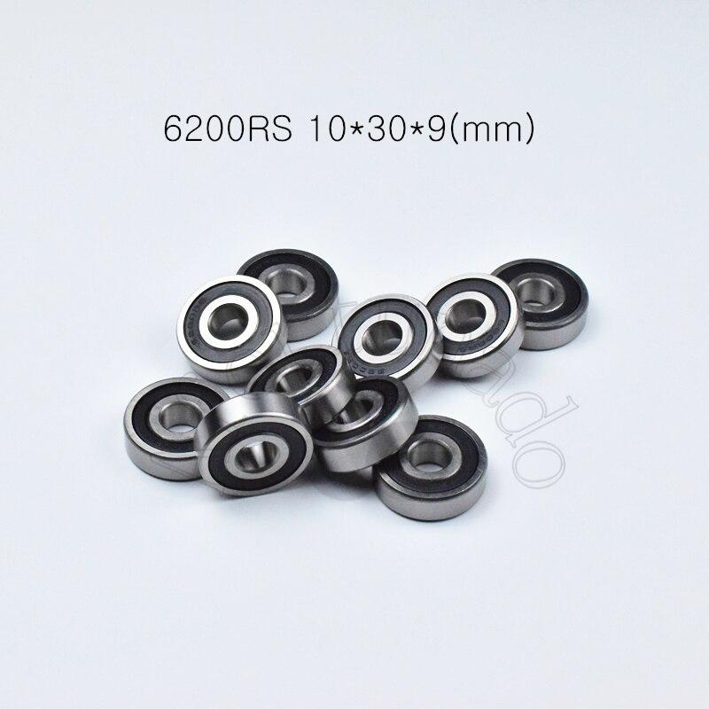 6200RS 10*30*9(mm)  1piece Bearings ABEC-5 Rubber Sealing Bearings 6200 6200RS Chrome Steel Deep Groove Bearing