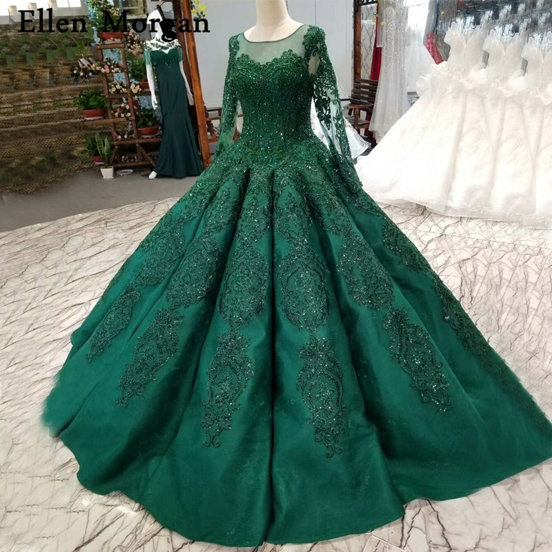 Black Wedding Gowns For Sale: Dark Green Sparkling Long Sleeves Ball Gowns Wedding
