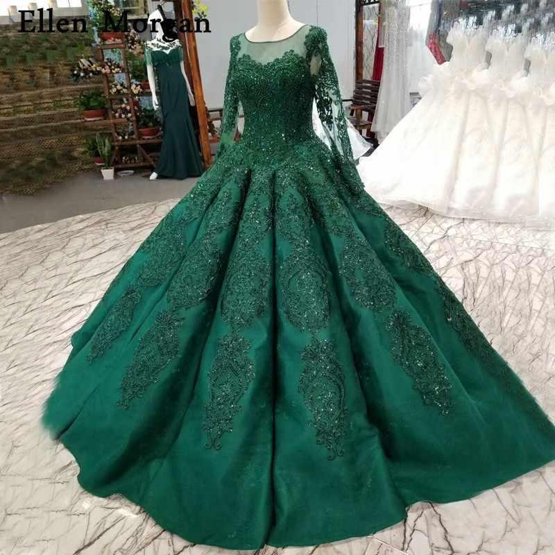 Dark Green Sparkling Long Sleeves Ball Gowns Wedding