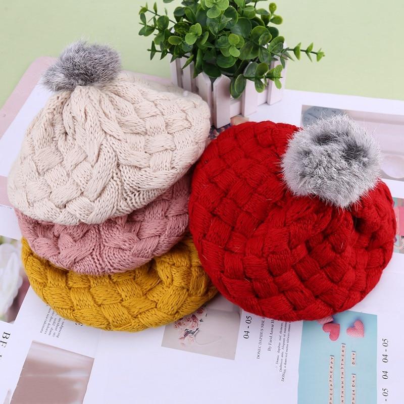 New Baby Winter Hat Knit Crochet Baby Beret Girl Cap For Children Cotton Warm