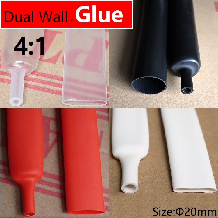 1.22M 20mm Diameter PE 4:1 Ratio Heat Shrinking Tube Adhesive Lined Dual Wall With Thick Glue Wire Wrap Waterproof Cable Sleeve1.22M 20mm Diameter PE 4:1 Ratio Heat Shrinking Tube Adhesive Lined Dual Wall With Thick Glue Wire Wrap Waterproof Cable Sleeve
