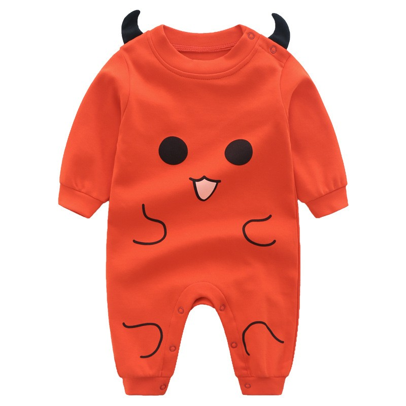 Infant Newborn Toddler Cute Little Devil Autumn Romper Playsuit Casual Long Sleeve Clothes Baby Boy Girl Clothes newborn romper gentlemen style striped baby boy romper playsuit