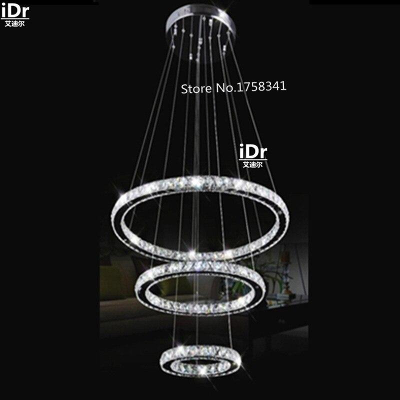 Modern Design Silver Crystal Chandelier LightingDe Cristal Suspension LED Crystal Ring Light with LED Bulbs Dia500 + 300 + 200mm