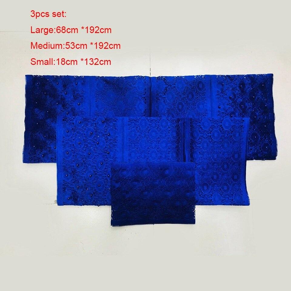 3 pièces ensemble nigérian Headtie Gele Aso Oke tissu, bleu tête cravate Aso Oke conçoit africain Gele & Ipele pour mariage LXLAS-5-13