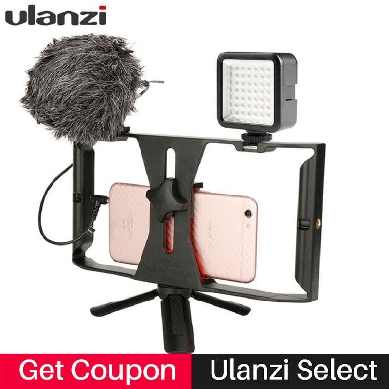 Handheld Video Käfig Rig Smartphone Stabilisator Film Stetige Griff Halterung Grip mit Led-videoleuchte/Aufnahmemikrofon