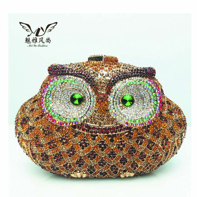 Owl Diamond Evening Women Clutch Bag Party Crystals Clutches Wedding Purses Ladies Hollow Out Handbags Bolsas Gold Mujer Sac
