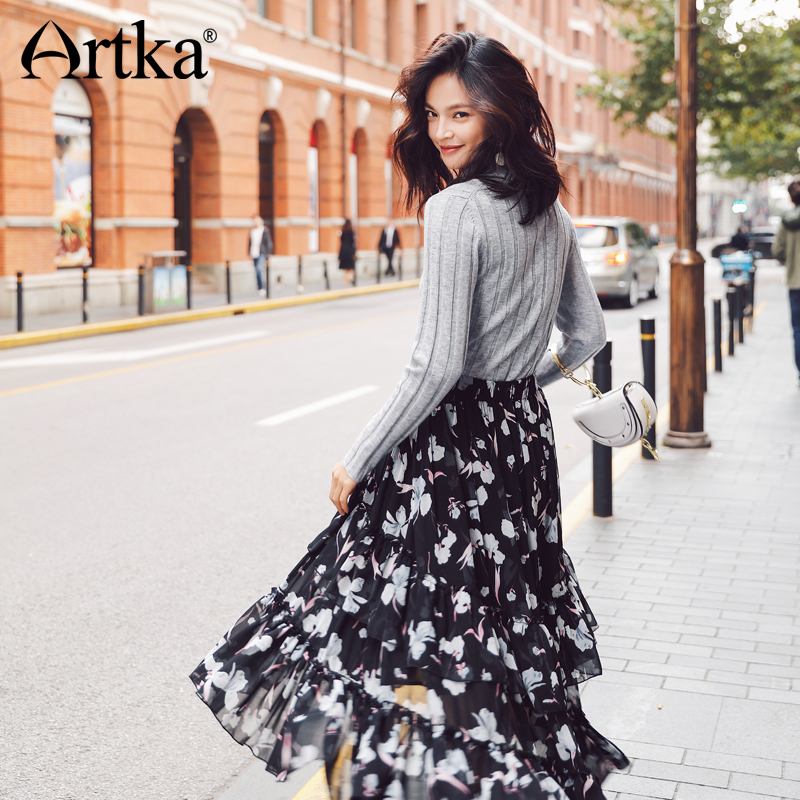 ARTKA 2018 New City Series Summer Vintage Black Print Pattern Floral Wide Hem Long Skirt JQ17015-in Skirts from Women's Clothing    3