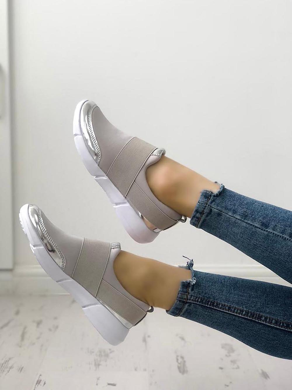 2019 Summer Women Flat Shoes Metal Color Splice Breathble Casual Shoes Pu leather Platform Loafers Slip Ons Soft Fashion New D25 in Women 39 s Flats from Shoes