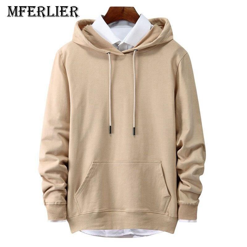 MFERLIER Autumn Winter Large Size Men Sweatshirts 4XL 5XL 6XL Big Pullover Long Sleeve 8 Colors Blue Black Men Plus Size Hoodies