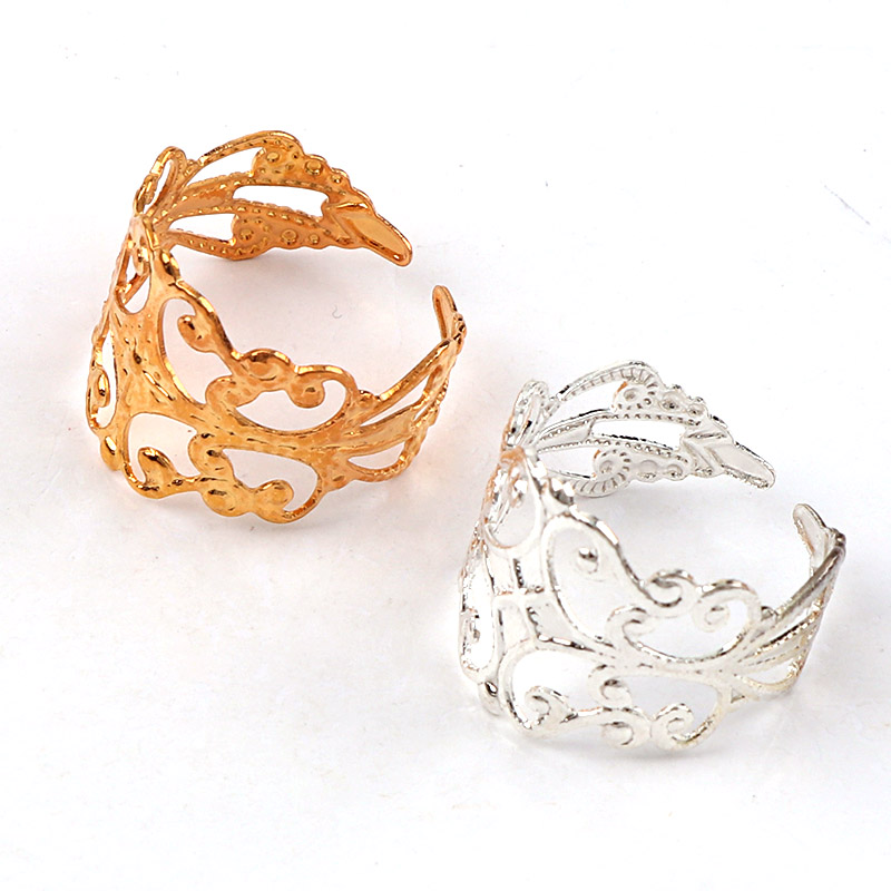 Adjustable 16x19mm Flower Lace Ring bezel Embellishments Bases Setting Blanks DIY Ring Jewelry Supplies Finding