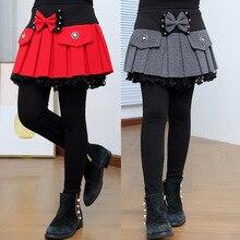 Леггинсы для девочек, детские штаны для девочек, юбка, комплект из двух предметов с имитацией бархата, плотная теплая одежда, уличные штаны, 100 160, высокое качество