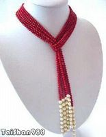Hot sale Free Shipping>>>>>Real White Pearl Red Coral Wide Tie Long Necklace