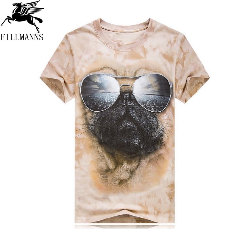 3D Printed T-Shirts Cool Cartoon Pug Dog with Sun Glasses Short Sleeve Tops Tees