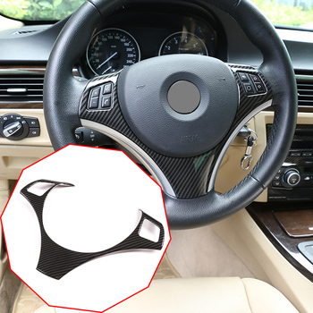 цена на For BMW E90 3 Series 2005-2012 For BMW E87 1 Series 2004-2011 Carbon Fiber ABS Car Steering Wheel Button Decoration Frame Trim