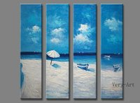 Handmade 4 Piece Seascape Landscape Oil Paintings On Canvas Wall Art Blue Ocean Beach Pictures For