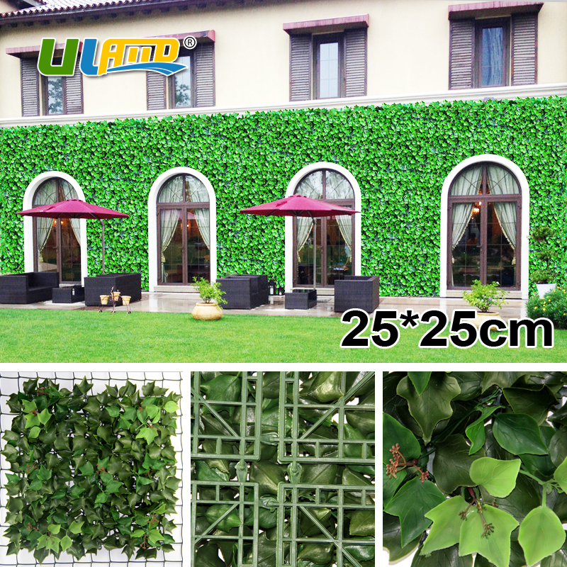 ULAND Artificial Ivy Hedges Panels 25x25cm/pc Outdoor Privacy Green Garden  Fence Plastic UV Greenery