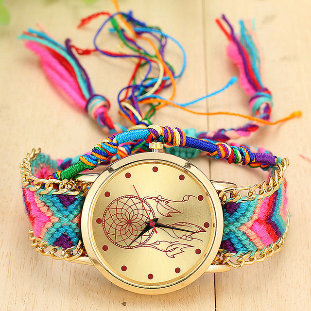 Dropshipping Handmade Braided Dreamcatcher Friendship Bracelet Watch Ladies Rope