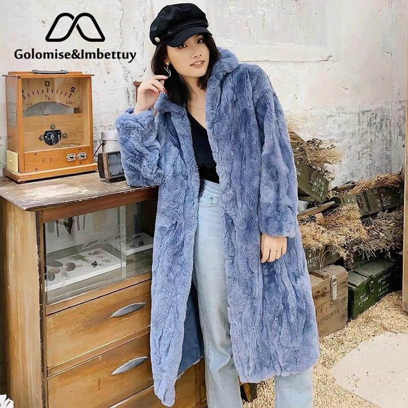 Golomise & Imbettuy Real/genuino Rex abrigo de piel de conejo mujeres invierno Natural Rex piel de conejo abrigo/chaqueta