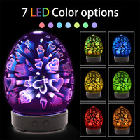 3D Glass Essential Oil Aroma Diffuser Ultrasonic Aromatherapy Electric Air Humidifier with Colorful Night Light Mist Maker 100ml