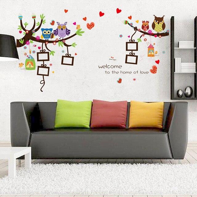 aliexpress : buy 60x90cm cartoon love owl wall sticker decor