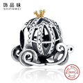 Real 925 Sterling Silver Cinderella's Pumpkin Charm Clear CZ Fit Original Pandora Bracelet Pendants Authentic Jewelry Gift
