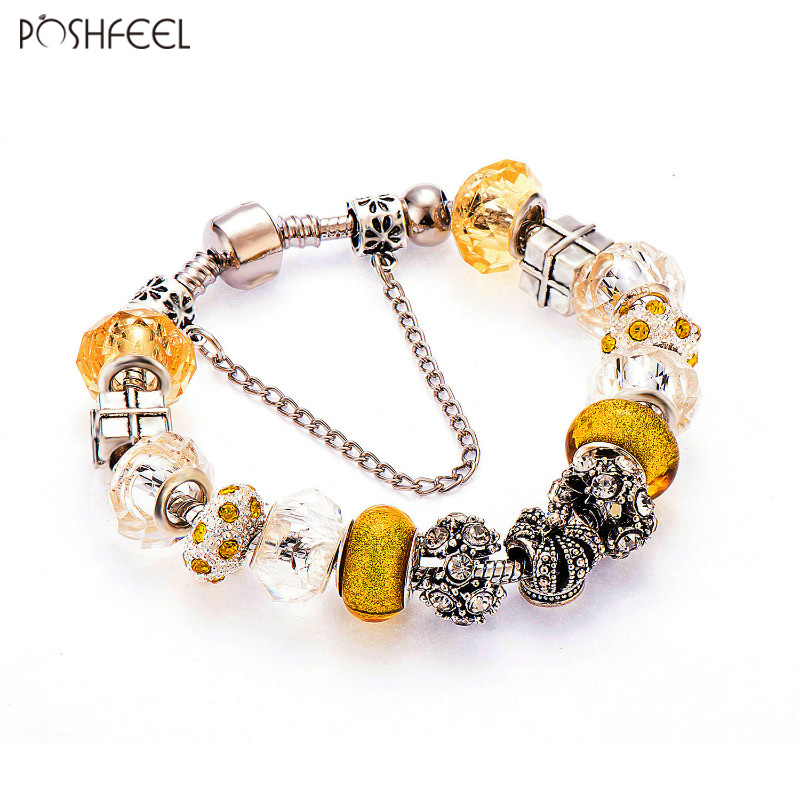 Purposeful Poshfeel European Yellow Crystal Charm Bracelets For Women 925 Silver Chain Bracelets & Bangles Diy Jewelry Pulseras Mbr170092 Jewelry & Accessories