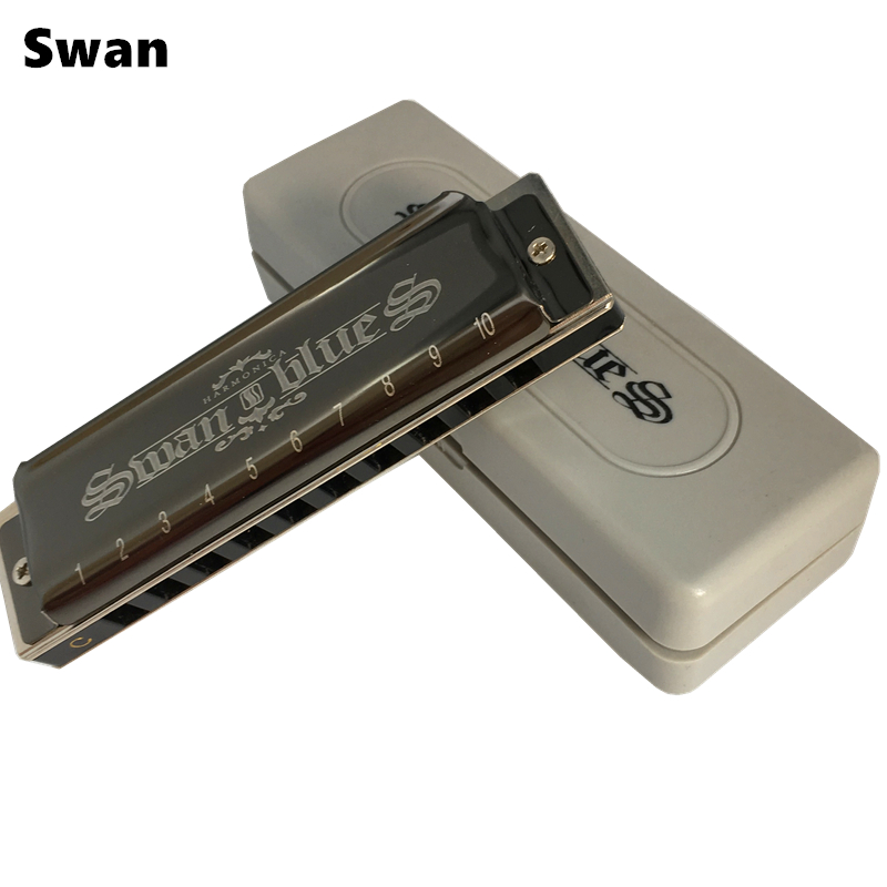 Swan Armonica 10 Fori Blues Harp armonicas diatonicas Chiave di C Bocca Ogan Arpa Instrumento Musical cigno harmonijka ustna