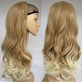 Fashion Two Tone Half Wig Long Wavy Ombre Wig Hair Fall Synthetic Hair Wigs #27T613 Brown Blonde Wig