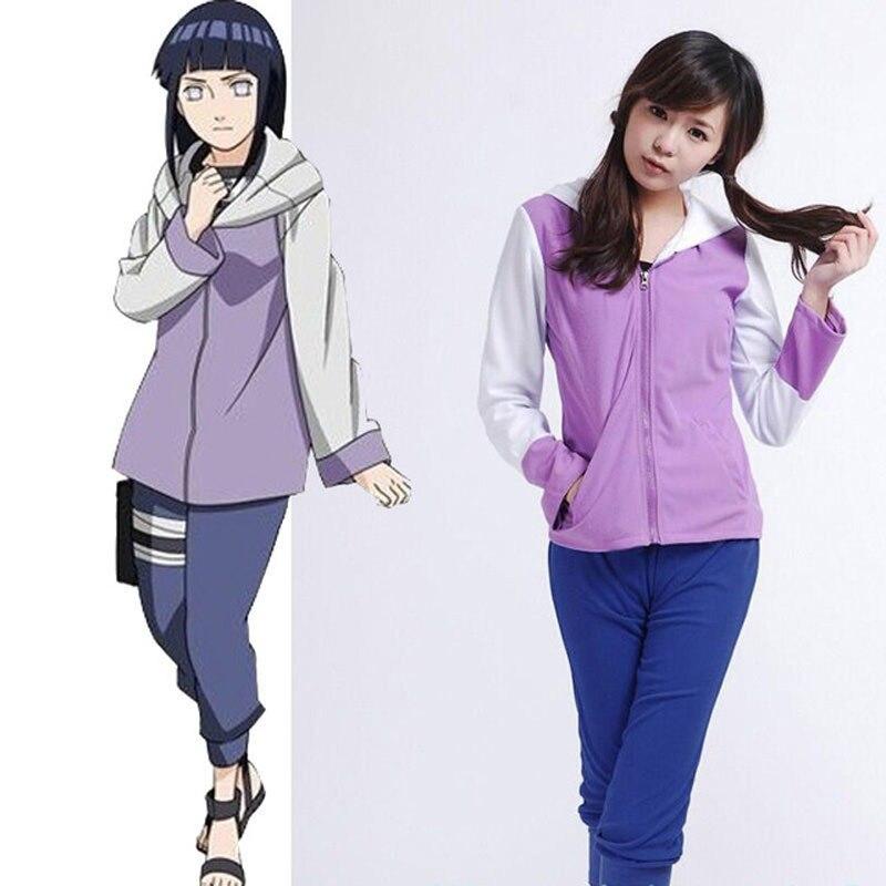 Anime Naruto Shippuuden Hinata Hyuga 2nd génération ensemble complet Costume Cosplay pour fille femmes sweat à capuche de sport pantalon tissu
