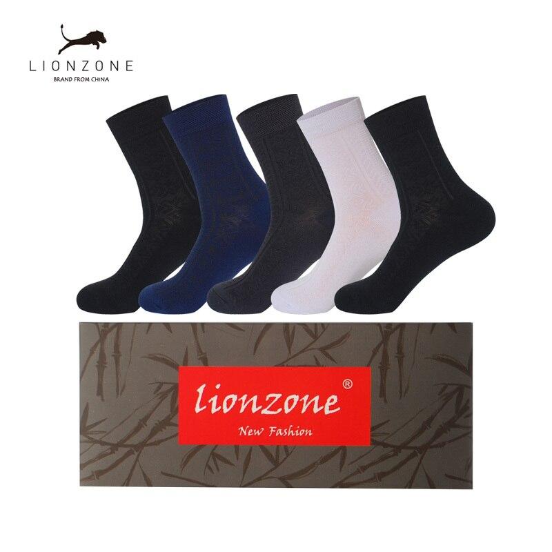 Business Men Dress Socks With Classics Decorative Design Anti-Bacterial Breathable Warm Crew Gentleman Bamboo Socks 5Pairs/Lot