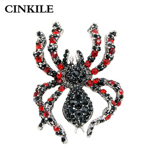 CINKILE Rhinestone Spider Brooches for Women Statement Insect Big Brooches Vintage Fashion Jewelry Exaggerated Brooch Pins