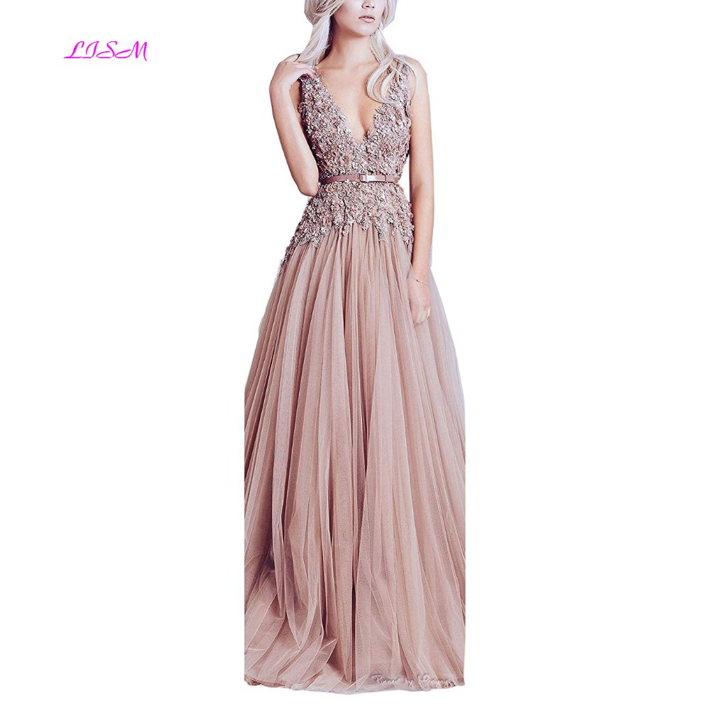 LISM vestidos Sexy Deep V Neck Prom Dresses Flower Appliques Tulle Formal Dresses A Line V Backless Bridesmaid Dress for Women