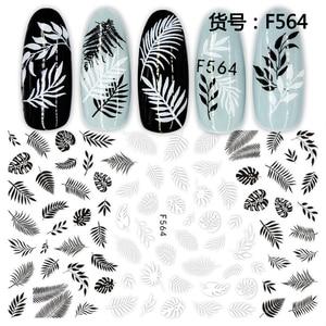 Image 2 - 1 feuille 3D ongle autocollant noir blanc feuille Totem Nail Art autocollant tatouage adhésif décalcomanies curseur conseils Nail Art décorations 2019 nouveau
