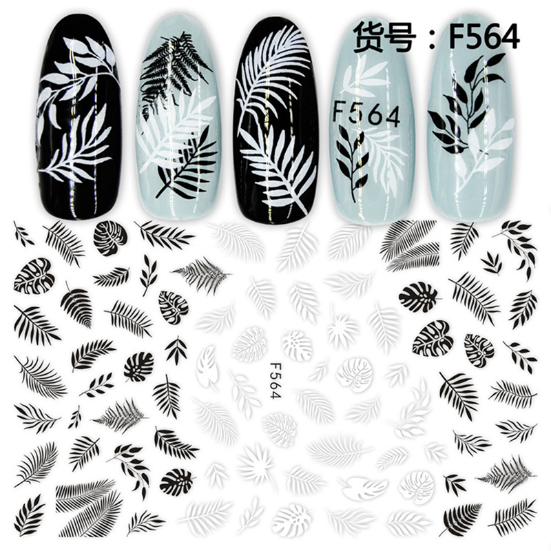 Image 2 - 1 sheet 3D Nail Sticker Black White Leaf Totem Nail Art Sticker Tattoo Adhesive Decals Slider Tips Nail Art Decorations 2019 new-in Stickers & Decals from Beauty & Health