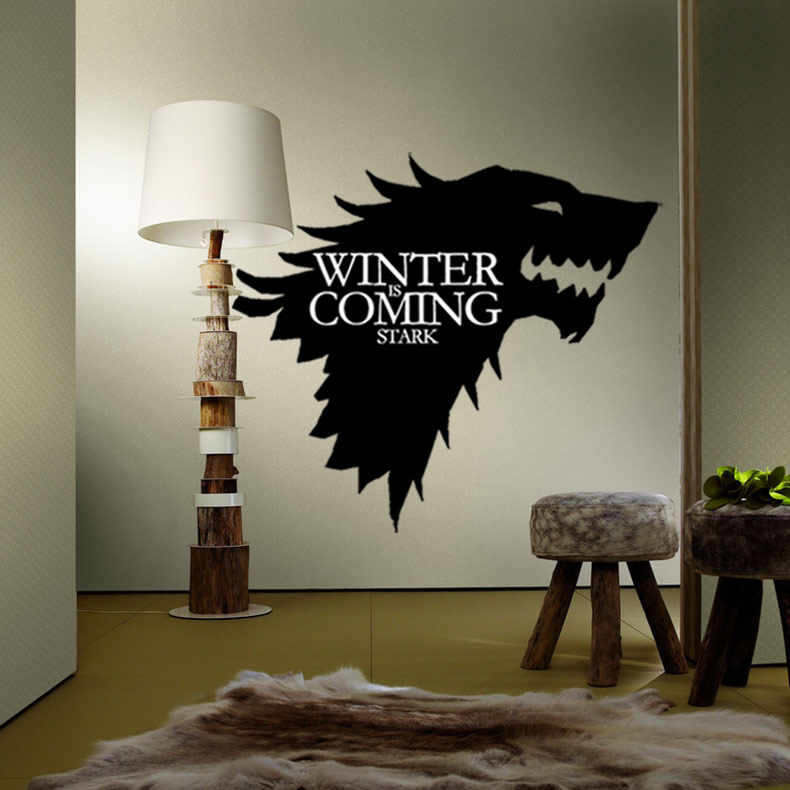 promotion Game of Thrones direwolf wall stickers art sticker House Stark of Winterfell home decoration
